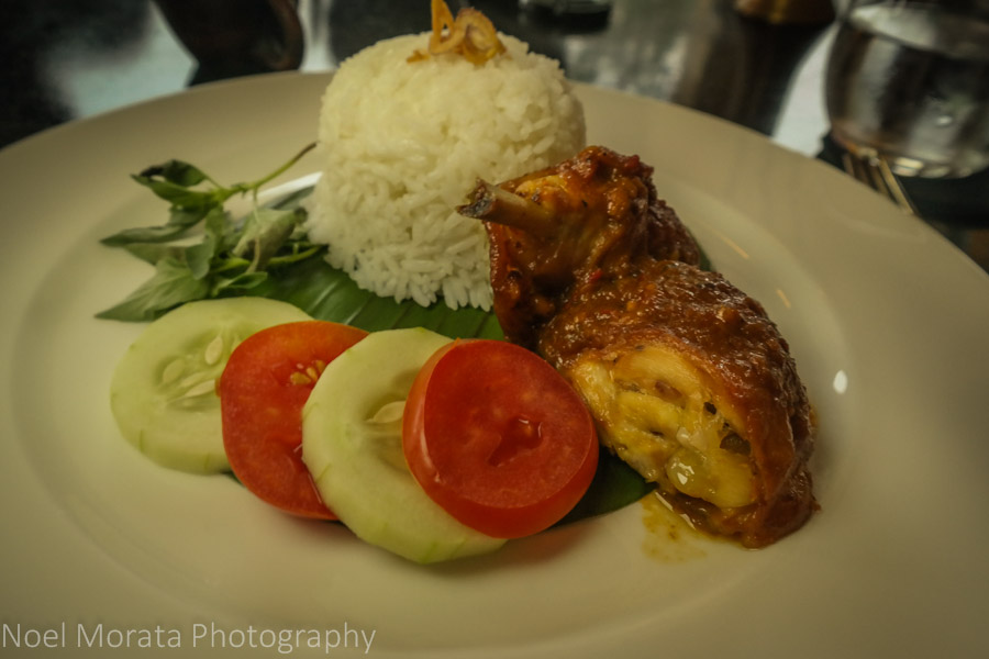 Crispy ayam chicken with rice and vegetables at Amanjiwo