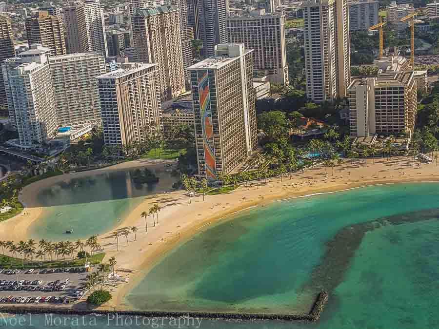 Entering Waikiki - Helicopter ride around Oahu