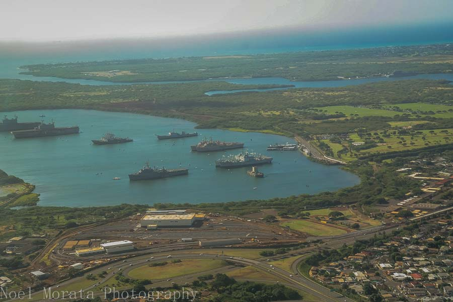 Pearl Harbor from above - Helicopter ride around Oahu
