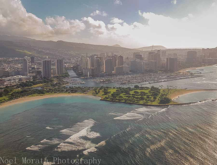 Approaching Honolulu via Novitour helicopter ride around Oahu