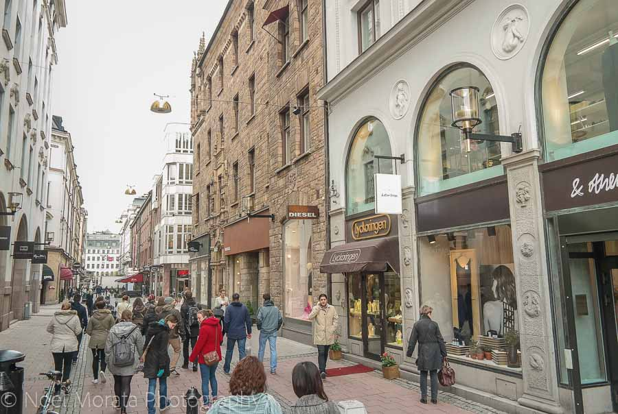 Stockholm's many busy pedestrian shopping street - Visiting Stockholm - a first impression