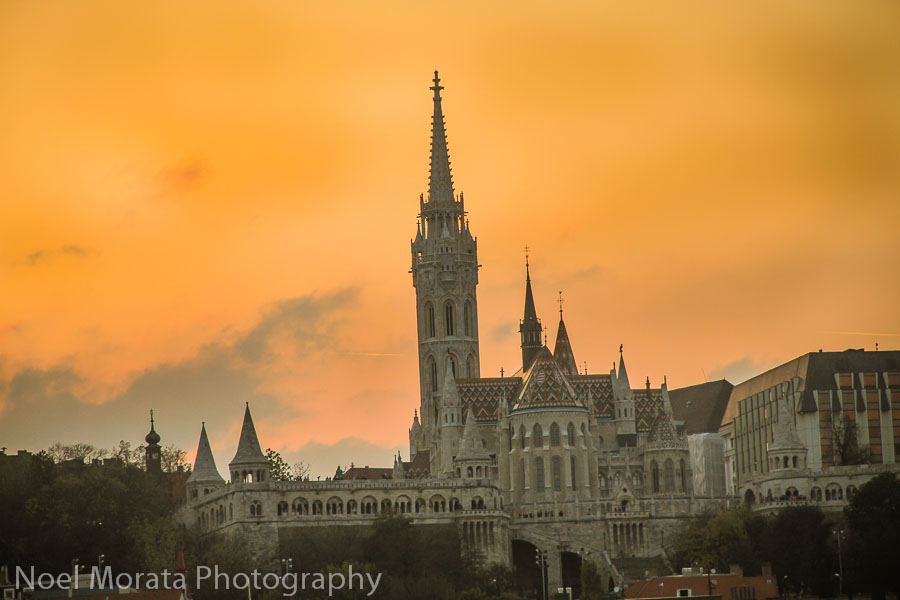 Sunset views of Buda Hill Castle from the Danube promenade in Budapest