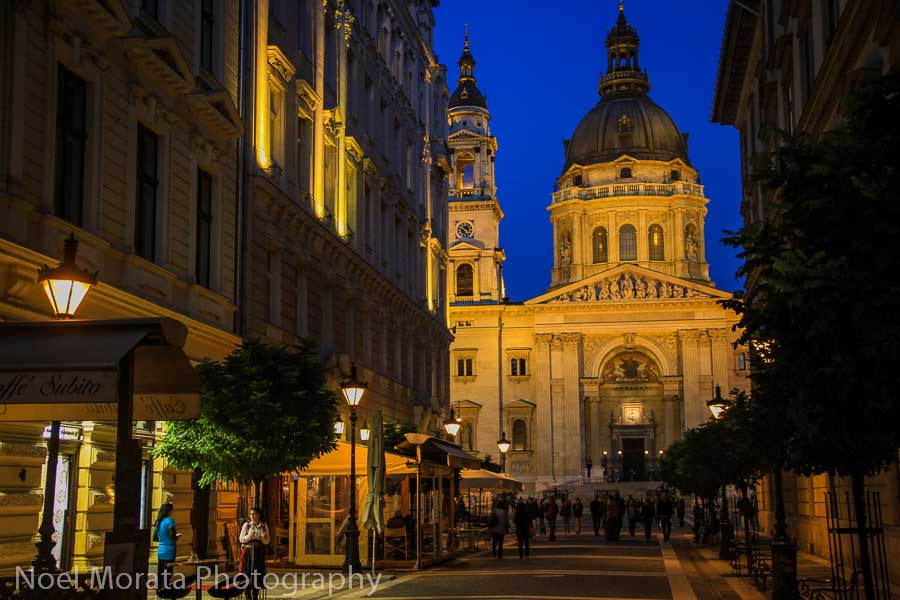 St. Stephen's Basilica Touring Budapest at night