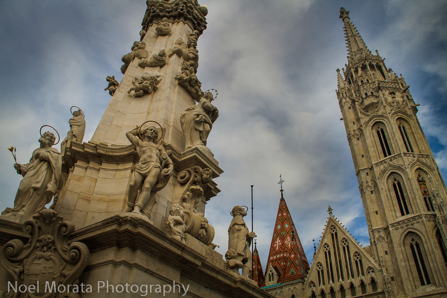 Trinity statue and Matthias church in the Buda section of Budapest