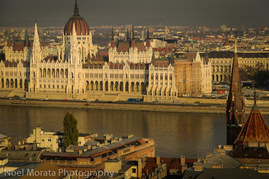 Looking at the Parliament of Budapest from Buda Castle hill
