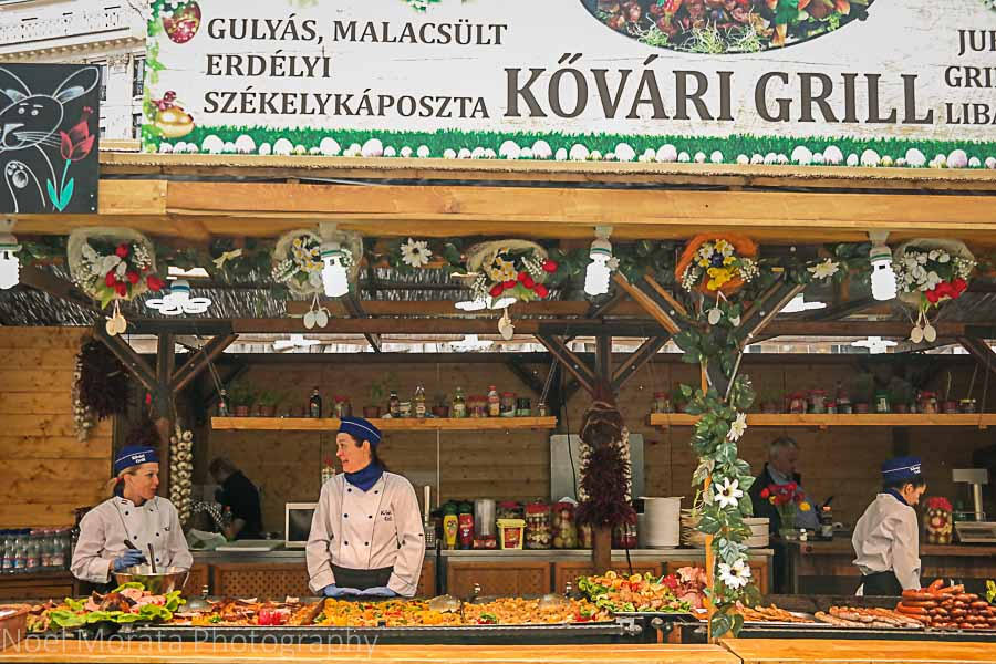 Outdoor market at Vorosmarty Square in Budapest