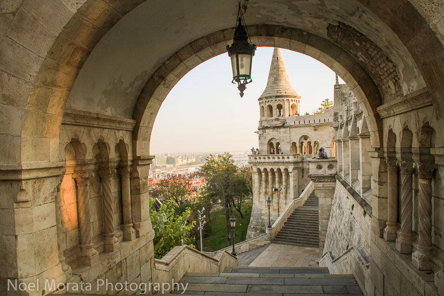 Climbing up to Fisherman's Bastion in Budapest Hungary