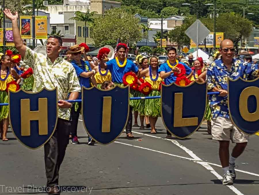 Hilo band at the Merrie Monarch Parade in Hilo Hawaii
