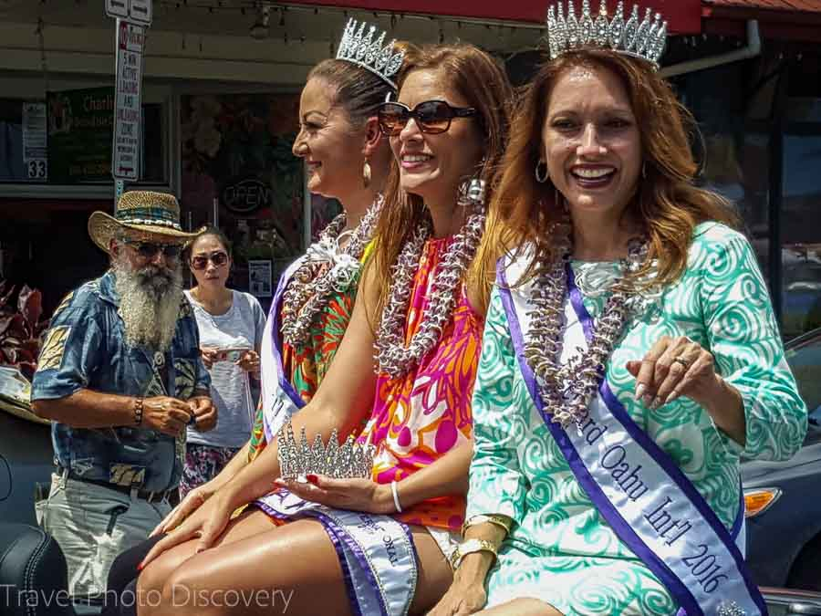 Beauty princesses at the Beautiful orchids for the Merrie Monarch Parade in Hilo Hawaii