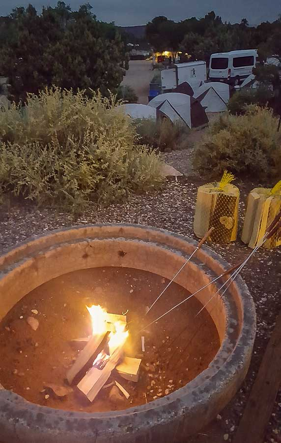 Campfire and Smores outside Bryce Canyon