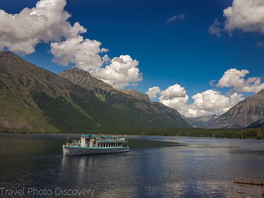 Ferry at Lake McDonald Glacier National park in Montana