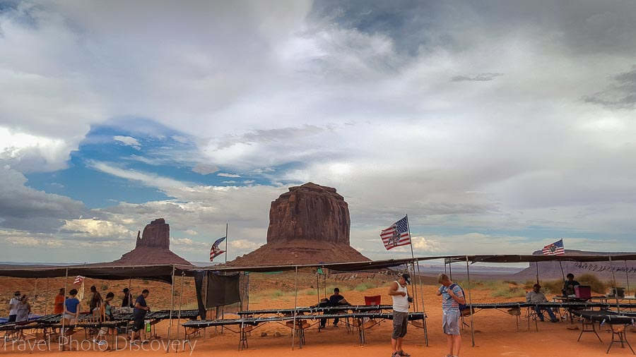 Souvenir stands Visiting and touring Monument Valley in Utah