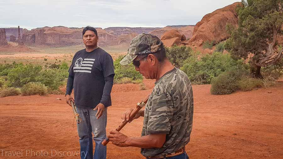 Native indian flute demonstration at Monument Valley, Utah