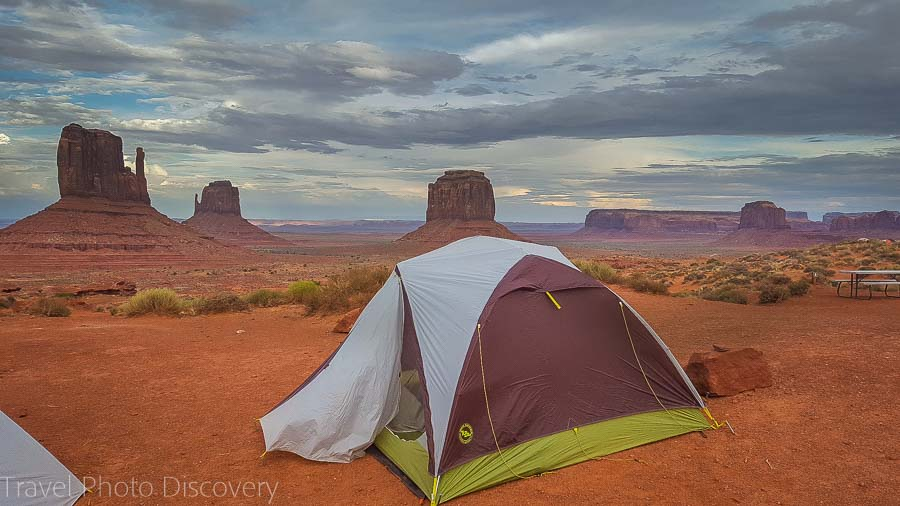 Setting up camp fronting Monument Vallley bordering Utah and Arizona