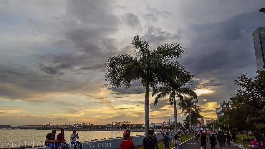 Walking through the Malecon at sunset in Panama City, Panama