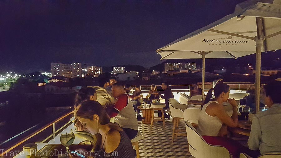 Rooftop bars overlooking downtown Panama city from Casco Viejo