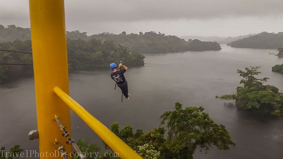 Zip line adventure over Gatun Lake in Panama