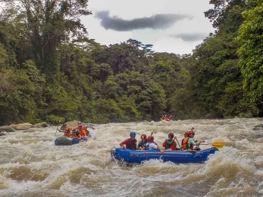 Shooting the rapids of the Chiriqui Viejo river in Boquete Panama