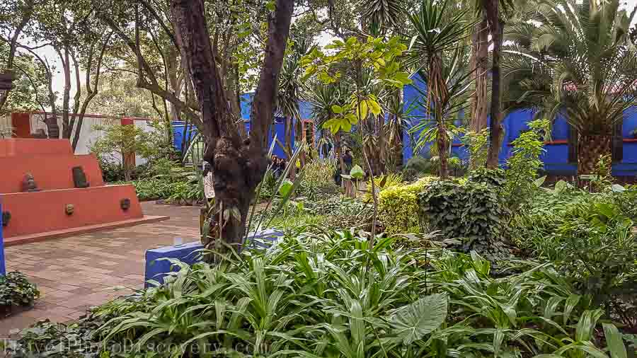 Central interior garden of the Frida Kahlo Museum in Mexico City