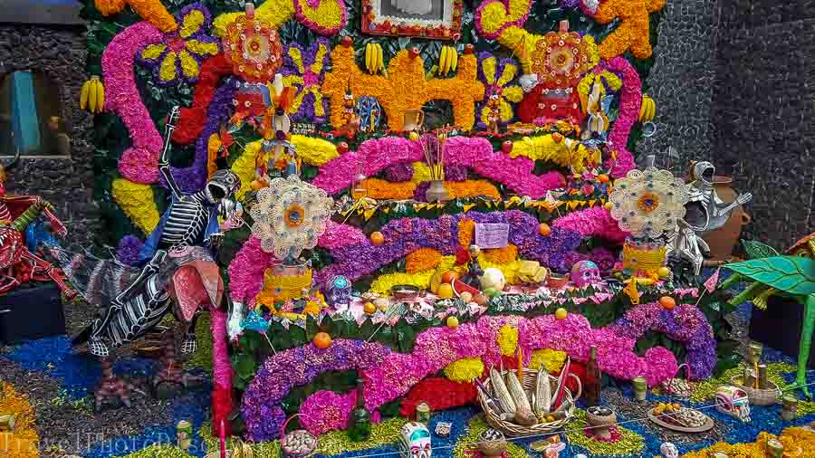 Elaborate Day of the dead display at Frida Kahlo Museum