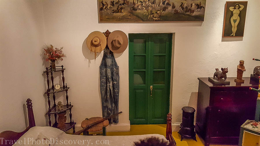 Diego's bedroom and displays at Casa Azul in Mexico City