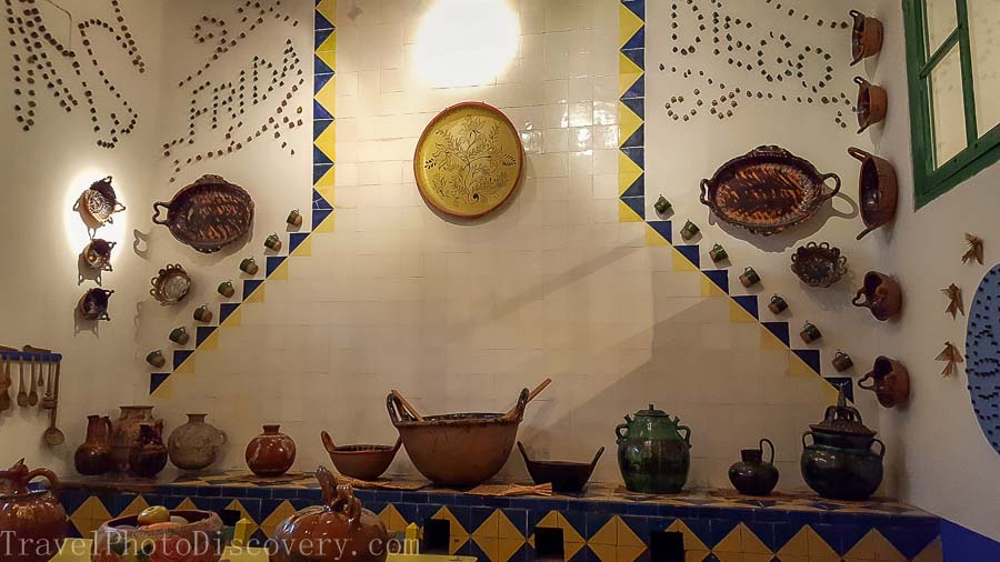 The main kitchen and displays at Casa Azul in Mexico City