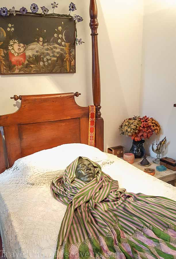 Friday Kahlo's bedroom and displays at Casa Azul in Mexico City