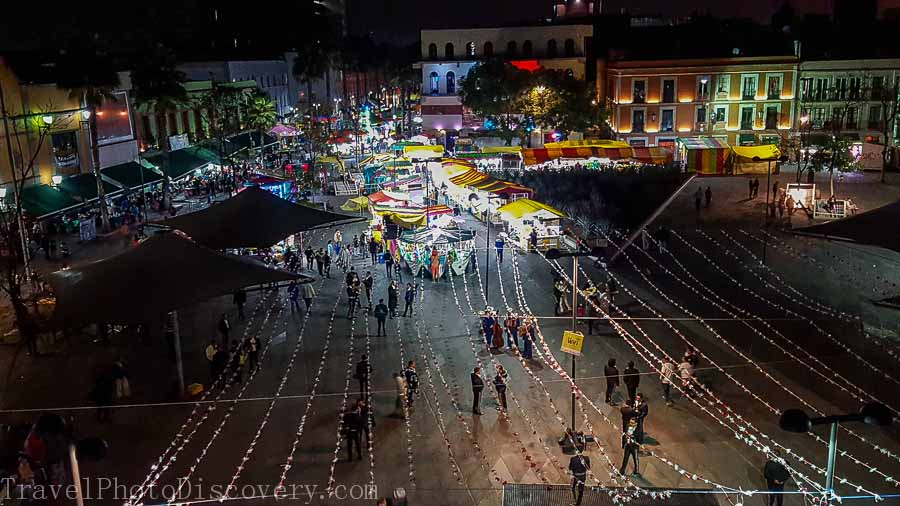 Views from above at the Tequila museum at Garibaldi Square at night Mexico City