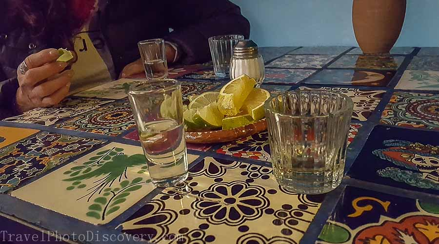 Tequila shot sampling at the Tequila museum on Garibaldi Square