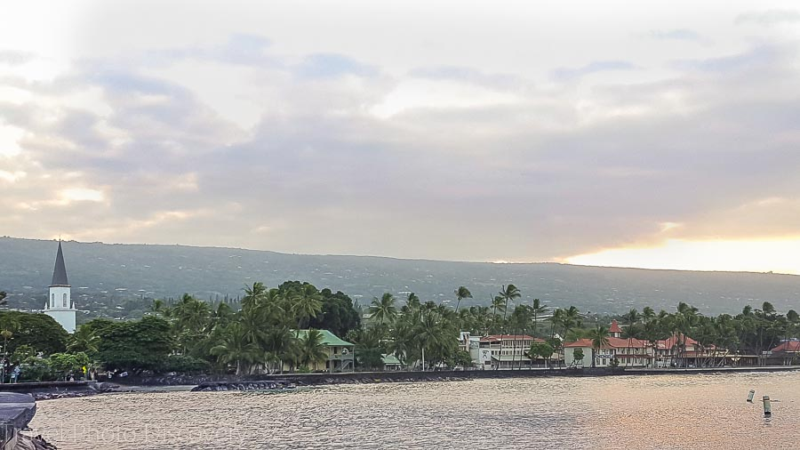 Kona town in the morning on Hawaii Island