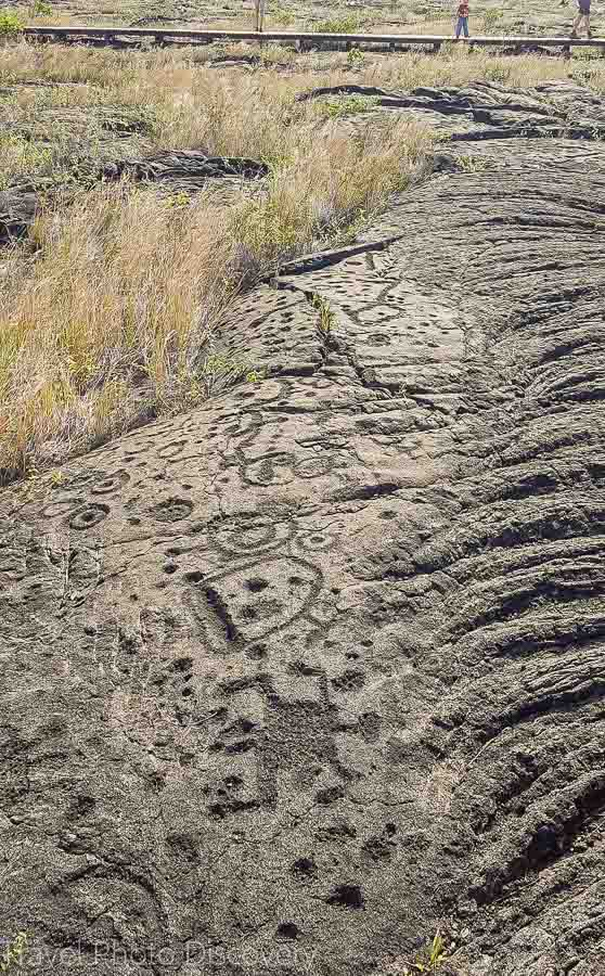 Exploring the petroglyphs at Volcanoes National Park