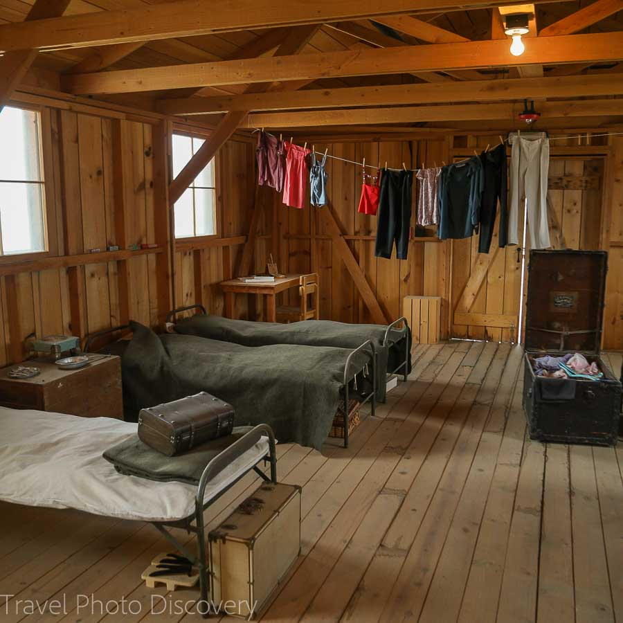 Inside one of the 'Tar paper' barracks at Manzanar National Historic site