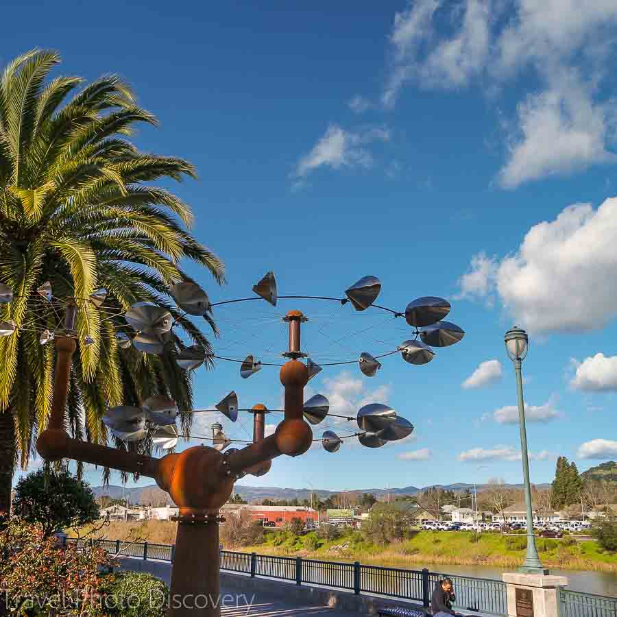 Public art on dislplay in along the waterfront and downtown Napa