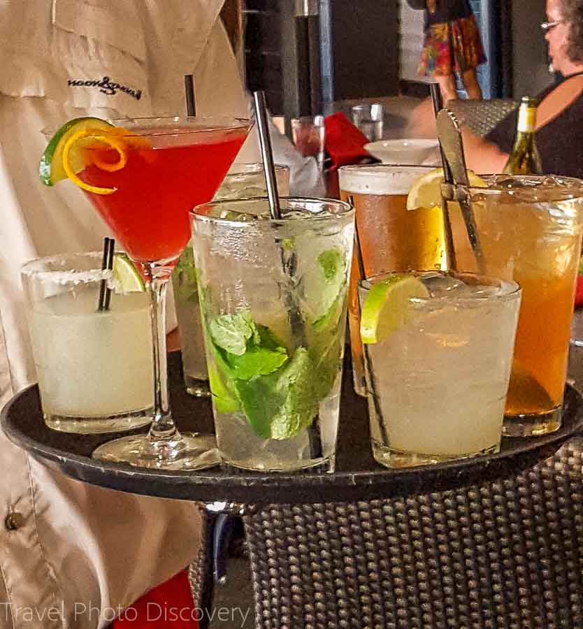 Specialty tropical drinks at the Faro Blanco Resort restaurant