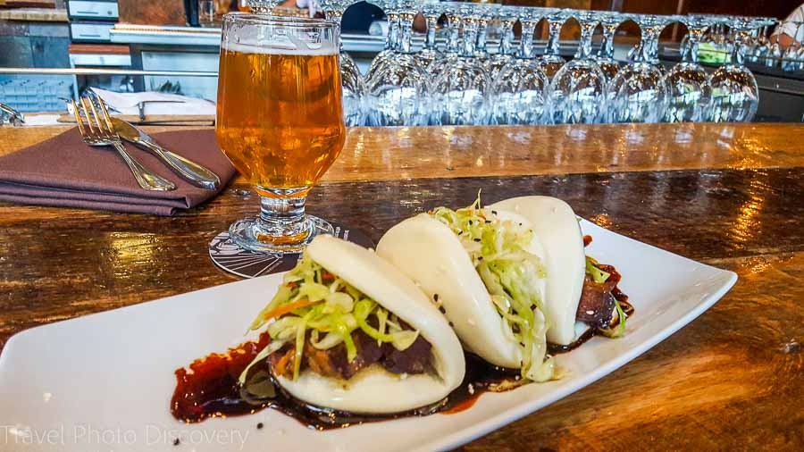 Pork bun with local IPA beer at Stone Brewing