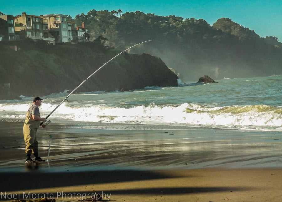 Fishing and surf at Baker Beach