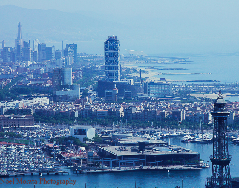 Views of the harbor and beaches from Montjuic