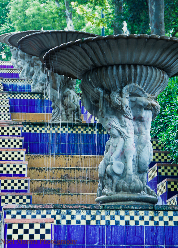 Tiled staircase and statues