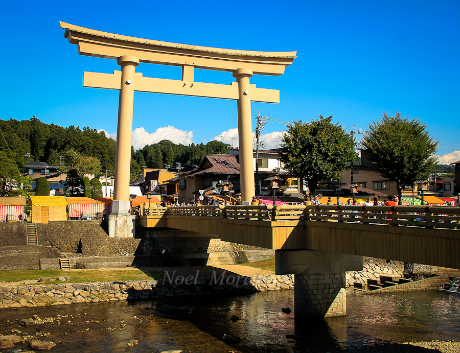A large portal gate to the old historic center at Takayama