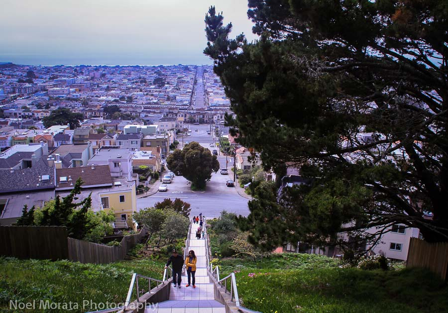 Views from the top - 16th Avenue stairs in San Francisco