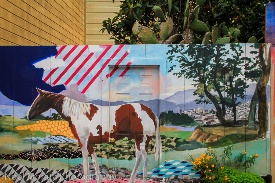 Colorful montage and street art at Balmy Lane