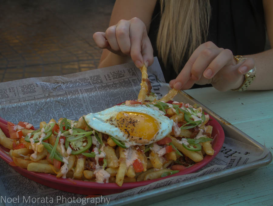 The garbage fries special with an egg on top at Fremont on Park