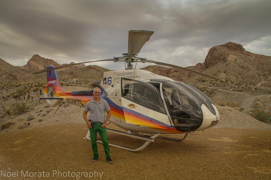Pose with our helicopter at the canyon stopover