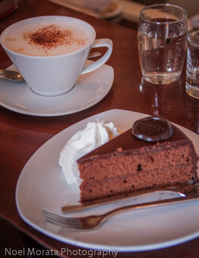 The famous Sacher torte and cappucino