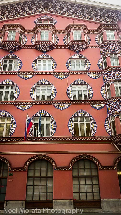 Colorful and unique Ljubljana architecture