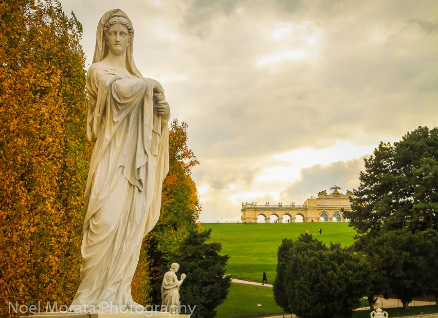 A line of statues at the Schonbrunn gardens