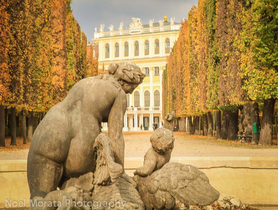 Sculpture fountain with Schonbrunn palace in the background