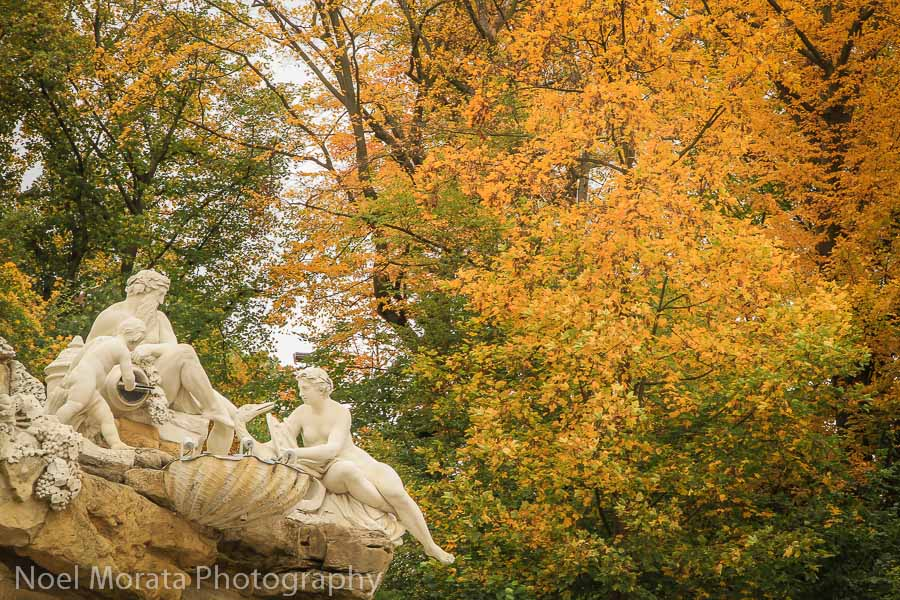 The statuary and fall gardens at Schonbrunn