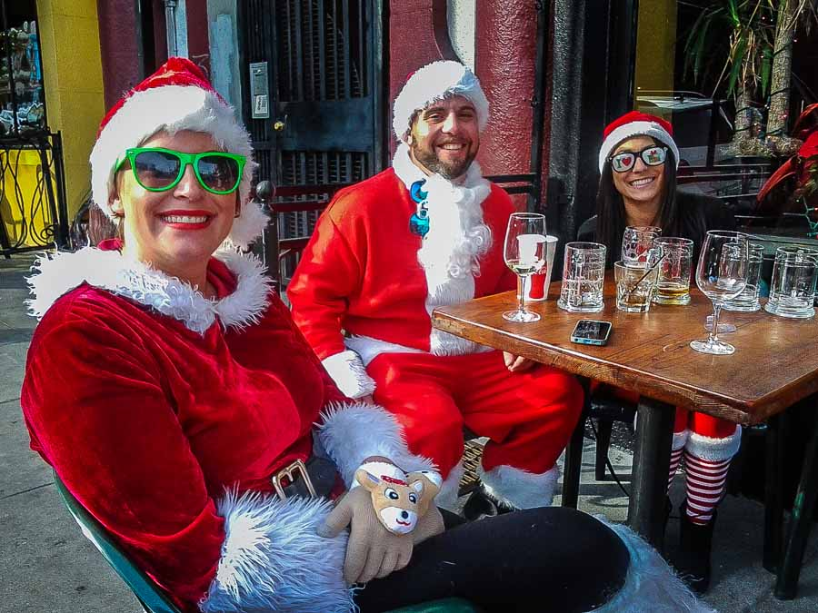 Enjoying Santacon day in San Francisco outdoors