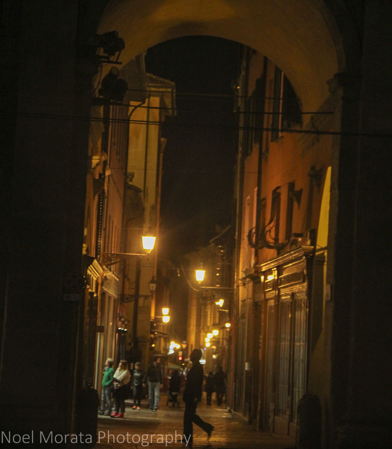 Quiet streets in the historic center of Bologna
